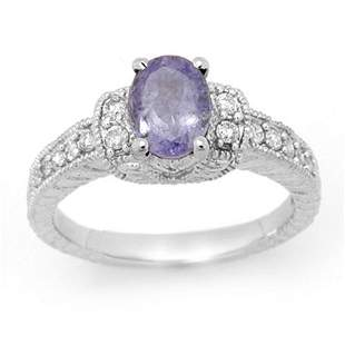 2.0 ctw Tanzanite & Diamond Ring 14k White Gold -