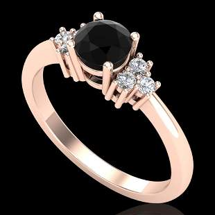0.75 ctw Fancy Black Diamond Engagment Ring 18k Rose