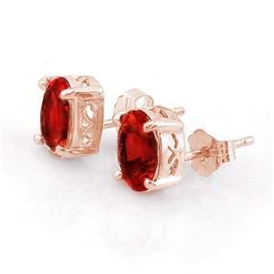2.0 ctw Garnet Earrings 14k Rose Gold - REF-9A2N