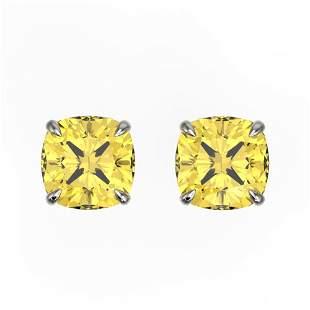 3 ctw Cushion Cut Citrine Designer Stud Earrings 18k