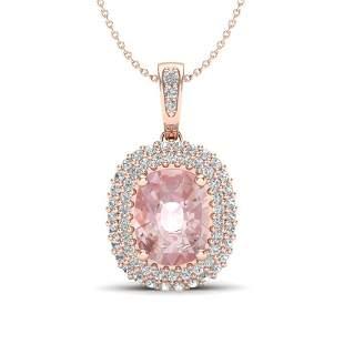 2.75 ctw Morganite & Micro Pave VS/SI Diamond Necklace