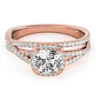 1 ctw Certified VS/SI Cushion Diamond Halo Ring 14k