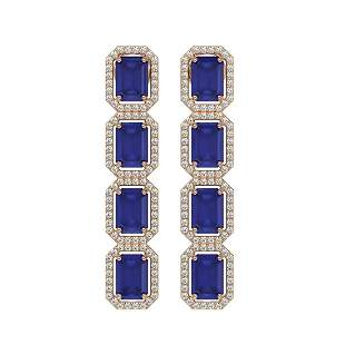 12.33 ctw Sapphire & Diamond Micro Pave Halo Earrings