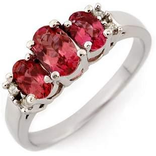 0.92 ctw Pink Tourmaline & Diamond Ring 14k White Gold