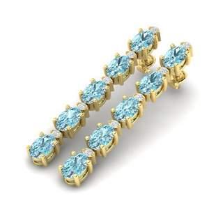 6 ctw Sky Blue Topaz & VS/SI Diamond Earrings 10k
