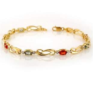 2.62 ctw Multi-Sapphire & Diamond Bracelet 10k Yellow