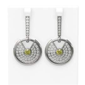 5.84 ctw Fancy Yellow Diamond Earrings 18K White Gold -