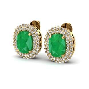 6.30 ctw Emerald & Micro Pave VS/SI Diamond Earrings