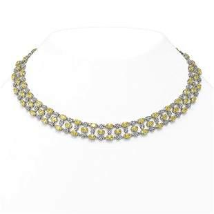 30.83 ctw Fancy Citrine & Diamond Necklace 10K White