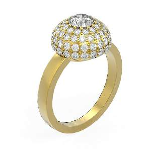 2 ctw Diamond Ring 18K Yellow Gold - REF-238N4F