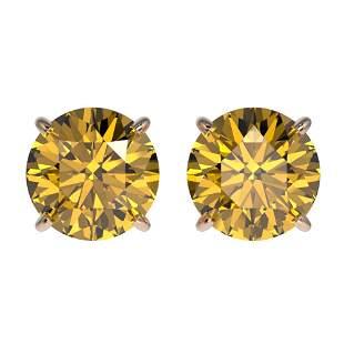 1.92 ctw Certified Intense Yellow Diamond Stud Earrings