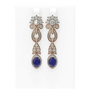 8.66 ctw Sapphire & Diamond Earrings 18K Rose Gold -