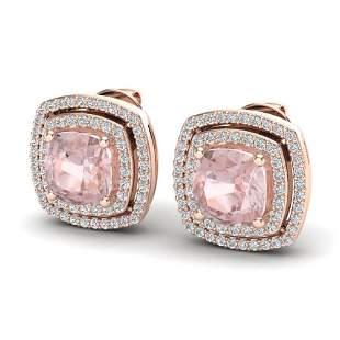 3.95 ctw Morganite & Micro Pave VS/SI Diamond Earrings