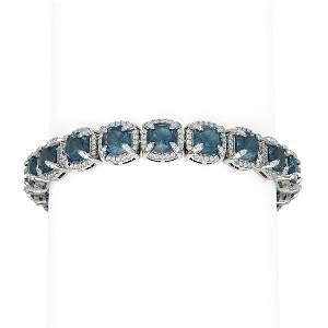 41.37 ctw London Topaz & Diamond Bracelet 18K White