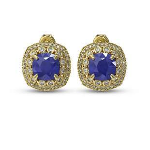 12.49 ctw Sapphire & Diamond Victorian Earrings 14K