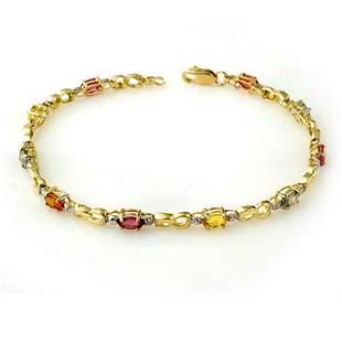 2.51 ctw Multi-Sapphire & Diamond Bracelet 10k Yellow