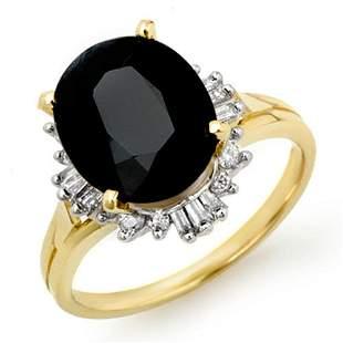 3.20 ctw Blue Sapphire & Diamond Ring 10k Yellow Gold -