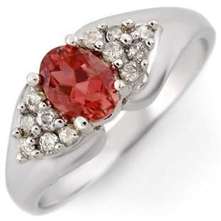 0.90 ctw Pink Tourmaline & Diamond Ring 18k White Gold