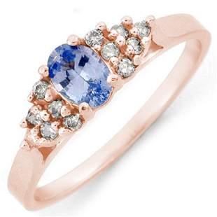 0.74 ctw Blue Sapphire & Diamond Ring 14k Rose Gold -