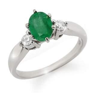 1.20 ctw Emerald & Diamond Ring 18k White Gold -