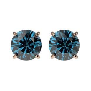 1.55 ctw Certified Intense Blue Diamond Stud Earrings