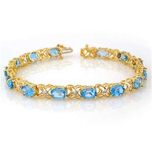 13.55 ctw Blue Topaz & Diamond Bracelet 10k Yellow Gold
