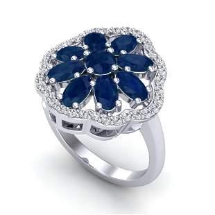 4 ctw Sapphire & VS/SI Diamond Cluster Designer Ring