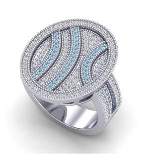 1.25 ctw Micro Pave Blue & White VS/SI Diamond Ring 14k