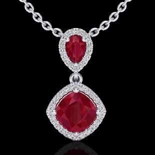 3.50 ctw Ruby & Micro Pave VS/SI Diamond Necklace 10k