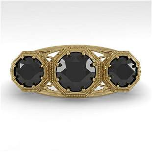 2 ctw Black Diamond Ring Art Deco 14k Yellow Gold -