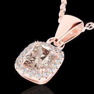 1.25 ctw Morganite & Micro Pave VS/SI Diamond Necklace