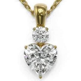 0.9 ctw Heart Diamond Designer Necklace 18K Yellow Gold