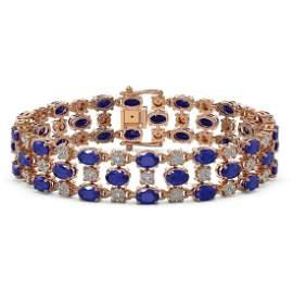 17.74 ctw Sapphire & Diamond Row Bracelet 10K Rose Gold