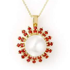 1.50 ctw Red Sapphire & Pearl Necklace 10k Yellow Gold
