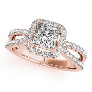 0.85 ctw Certified VS/SI Princess Diamond Halo Ring 14k
