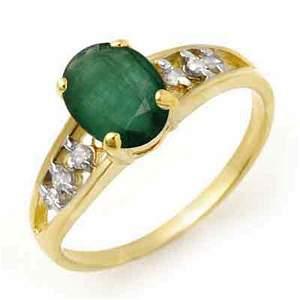 1.50 ctw Emerald & Diamond Ring 10k Yellow Gold -