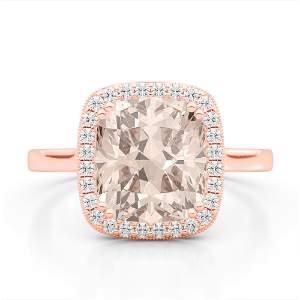 3 ctw Morganite & Micro Pave VS/SI Diamond Halo Ring