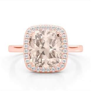 ctw Morganite & Micro Pave VS/SI Diamond Halo Ring