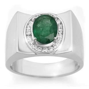2.33 ctw Emerald & Diamond Men's Ring 10k White Gold -