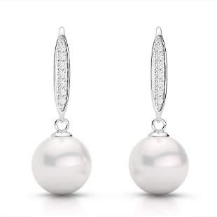 0.18 ctw Micro VS/SI Diamond & White Pearl Earrings 18k