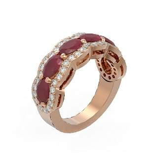 5.03 ctw Ruby & Diamond Ring 18K Rose Gold - REF-133M5G