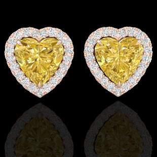 2 ctw Citrine & Micro Pave VS/SI Diamond EARRRING Heart