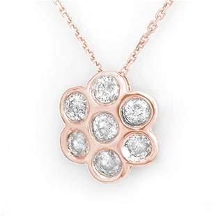 0.90 ctw Certified VS/SI Diamond Necklace 14k Rose Gold