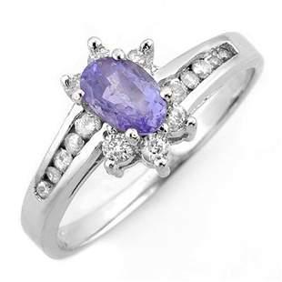 1.08 ctw Tanzanite & Diamond Ring 10k White Gold -