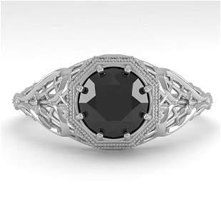 1.0 ctw Black Certified Diamond Ring Art Deco 14k White