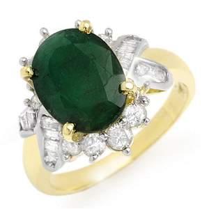 3.27 ctw Emerald & Diamond Ring 14k Yellow Gold -