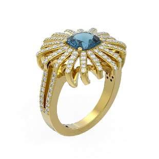 3.05 ctw London Topaz & Diamond Ring 18K Yellow Gold -