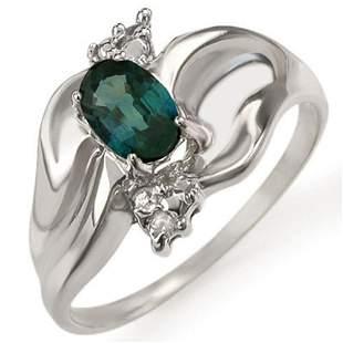 0.79 ctw Blue Sapphire & Diamond Ring 10k White Gold -