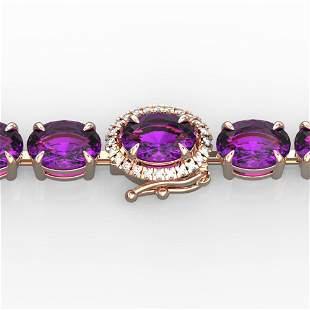 19.25 ctw Amethyst & VS/SI Diamond Micro Pave Bracelet