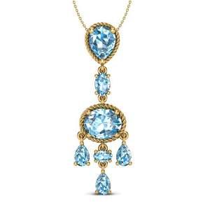 8 ctw Sky Blue Topaz Necklace Designer Vintage 10k